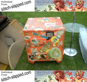 kitschy-decoupage-weight-loss-clippings-orange-nightstand