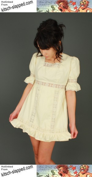 70s-cream-babydoll-empire-waist-mini-dress