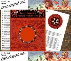 Get a digital copy of this vintage Whirl-O Halloween Fortune and Stunt Game Wheel for your Halloween party! From AlteredArtifacts.