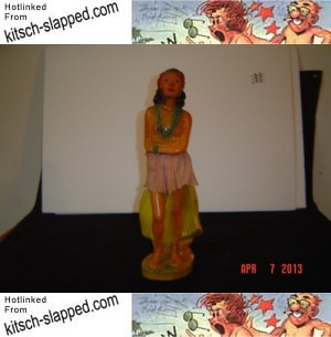 Vintage 1950 Chalk ware Nude Hula Girl 16 inch Tall CANON ART STATUARY