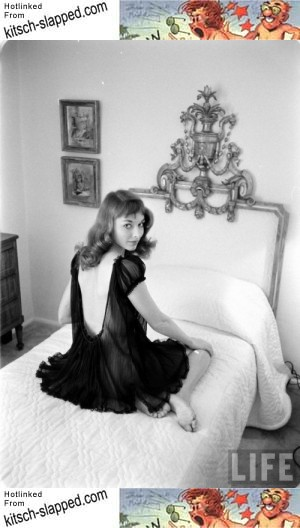 vintage vikkie dougan in sheer black nightie Ralph Crane photo for Life
