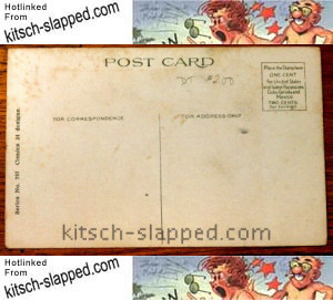 back of antique postcard comic design