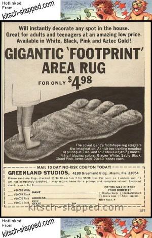 vintage footprint rug ad