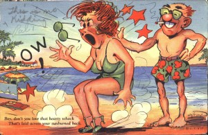 vintage sunburn slap postcard