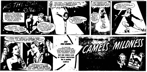 1949 vikki dougan skater comic ad for camels cigs