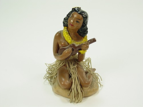 Vintage 1940's Chalkware Nude Hula Girl Hawaiian Figurine Rat Rod Hawaiana Surf