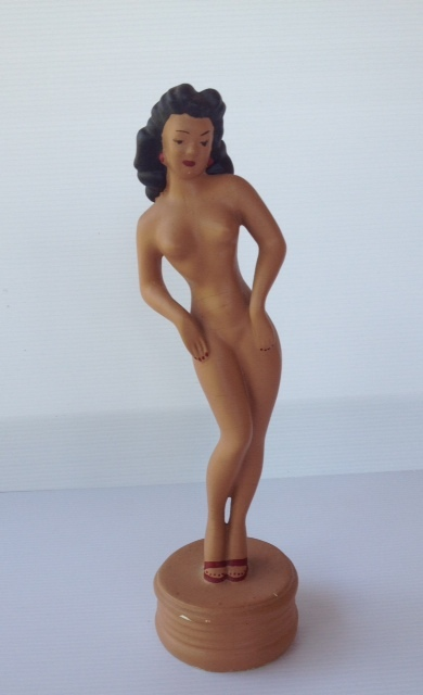 Vintage Chalkware Nude Pin-Up Lady Figure 1940's
