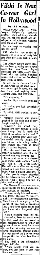 lee belser on vikki dougan in anderson herald bulletin april 2 1957