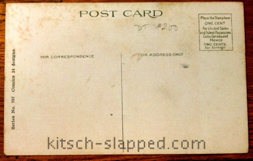 back of antique postcard comic design