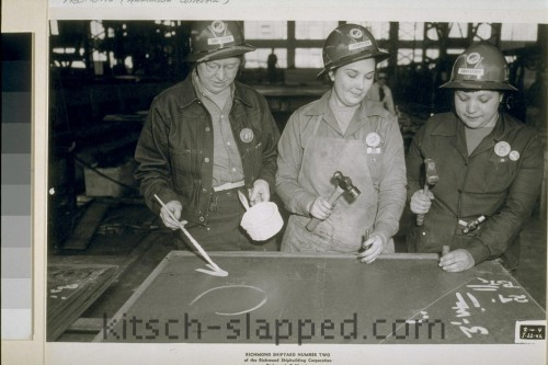 women in had hats working at richmond shiphard number two