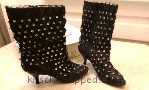 black sequin covered desperately seeking susan boots 1985