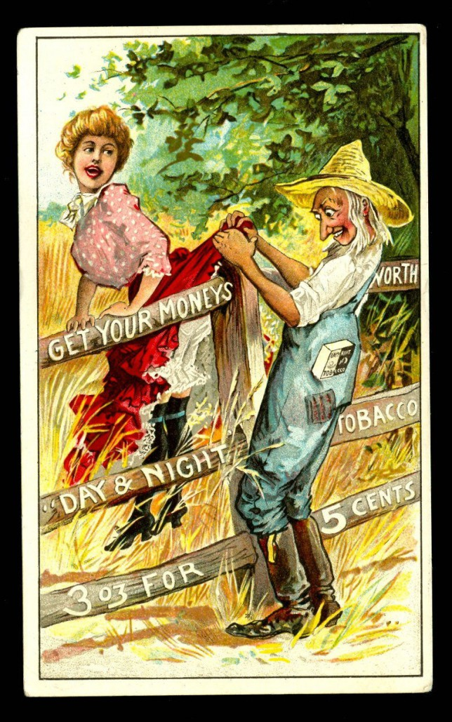 antique up-skirt tobacco trade card