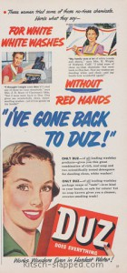 white wash no red hands vintage duz ad