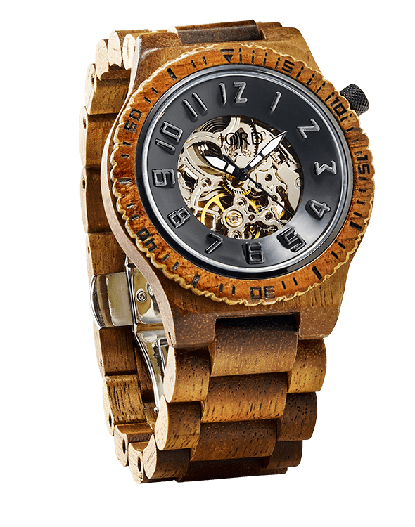 jord wood wristwatch dover Koa & Black